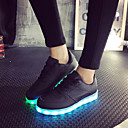 cheap Men's Sneakers-Women's Shoes Leatherette Spring / Summer / Fall Light Up Shoes Flat Heel Lace-up Black