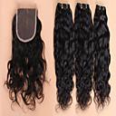 baratos Um pacote de cabelo-3 pacotes com fechamento Cabelo Brasileiro Cabelo Virgem Trama do cabelo com Encerramento 10-28 polegada Tramas de cabelo humano Extensões de cabelo humano