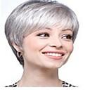 お買い得  人工毛キャップレスウィッグ-人工毛ウィッグ ストレート スタイル キャップレス かつら グレイ グレー 合成 10 インチ 女性用 グレイ かつら ショート hairjoy ハロウィンウィッグ