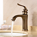 cheap Wallpaper-Antique Deck Mounted Ceramic Valve Single Handle One Hole Antique Brass, Bathroom Sink Faucet Bath Taps