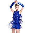 cheap Girls' Shoes-Latin Dance Dresses Women's Performance Milk Fiber Tassel Sleeveless Natural Dress