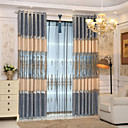 cheap Blackout Curtains-Blackout Curtains Drapes Bedroom Solid Colored Plaid / Check Polyester Embroidery