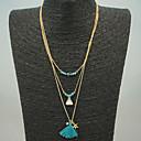 baratos Colares-Mulheres Franjas / Contas colares em camadas - Borla Azul Colar Para