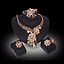 cheap Jewelry Sets-Women's Crystal / Synthetic Diamond Jewelry Set - 18K Gold Plated, Rhinestone, Gold Plated Flower Luxury Include Gold For Wedding / Party / Imitation Diamond / Rings / Earrings / Necklace