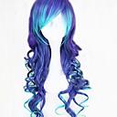 halpa Videopeli-peruukit-Synteettiset peruukit Kihara / Laineita / Löysät aaltoilevat Tyyli Epäsymmetrinen leikkaus Suojuksettomat Peruukki Sininen Tumman sininen Synteettiset hiukset 25 inch Naisten Luonnollinen hiusviiva