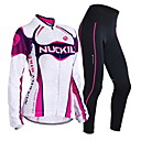 cheap Cycling Jackets-Nuckily Men's / Women's Long Sleeve Cycling Jersey with Tights - Purple Geometic / Floral / Botanical Bike Clothing Suit, Windproof, Thermal / Warm, Anatomic Design Polyester, Spandex, Fleece
