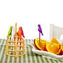 זול כלי אוכל-6 יח 'קריקטורה ציפור עיצוב פירות מזלג כלי בישול יצירתי הביתה קישוט