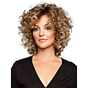 preiswerte Synthetische Perücken ohne Kappe-Synthetische Perücken Locken Synthetische Haare Perücke Damen Kurz Kappenlos Goldenbraun StrongBeauty