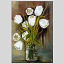 זול ציורי סגנון חיים-ציור שמן צבוע-Hang מצויר ביד - פרחוני / בוטני סגנון ארופאי מודרני בַּד