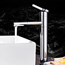 cheap Bathroom Sink Faucets-Contemporary Deck Mounted Ceramic Valve Single Handle One Hole Chrome, Bathroom Sink Faucet Bath Taps