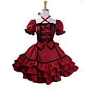 cheap Historical & Vintage Costumes-Princess Gothic Lolita Dress Sweet Lolita Dress Women's Girls' Dress Cosplay Red Ball Gown Puff / Balloon Sleeve Short Sleeve Mini Plus Size Customized Costumes
