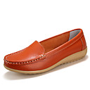 cheap Women's Slip-Ons & Loafers-Women's Moccasin Leather Spring / Fall Comfort Flat Heel White / Black / Orange