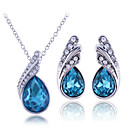 cheap Jewelry Sets-Women's Cubic Zirconia Jewelry Set - Sterling Silver, Zircon, Rhinestone Drop Include Necklace / Earrings White / Purple / Blue For Wedding / Party / Birthday
