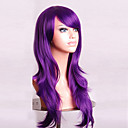 cheap Costume Wigs-Synthetic Wig Curly / Natural Wave Asymmetrical Haircut / With Bangs Synthetic Hair Natural Hairline Purple Wig Women's Long Capless