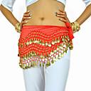 cheap Dance Accessories-Belly Dance Belt Women's Training Chiffon Beading Coin Hip Scarf