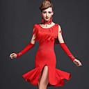 baratos Roupas de Dança Latina-Dança Latina Vestidos Mulheres Espetáculo Elastano Viscose Mocassim Vestido Calções