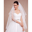 cheap Favor Holders-Two-tier Pencil Edge Wedding Veil Blusher Veils Fingertip Veils With Ruched Tulle
