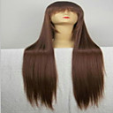 preiswerte Verschluss & Frontal-Synthetische Perücken Glatt Synthetische Haare Braun Perücke Damen Sehr lang Kappenlos Braun hairjoy