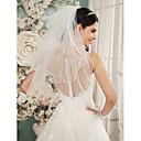 baratos Véus de Noiva-Quatro Camadas Borda Lápis Véus de Noiva Véu Ombro Com Franzido Tule