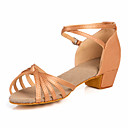 cheap Latin Shoes-Women's Latin Shoes / Ballroom Shoes Satin Sandal Low Heel Non Customizable Dance Shoes Nude / Bronze / Kid's / Leather / Leather