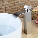 ราคาถูก ก๊อกอ่างล้างหน้าในห้องน้ำ-ก๊อกน้ำอ่างล้างจานห้องน้ำ - น้ำตก Nickel Brushed ตัวเจาะนำศูนย์ จับเดี่ยวหนึ่งหลุมBath Taps / Brass