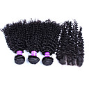זול תוספות שיער בגוון טבעי-שיער ברזיאלי מתולתל / גלי משוחרר / מתולתל לארוג שיער בתולי שיער Weft עם סגירה שוזרת שיער אנושי תוספות שיער אדם