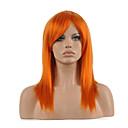billige Syntetiske parykker-Syntetiske parykker / Kostymeparykker Dame Rett Rød Syntetisk hår Rød Parykk Medium Lengde Lokkløs Oransje