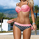 cheap Rings-Women's Strap Red Pink Bandeau Cheeky Bikini Swimwear - Polka Dot Print M L XL