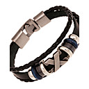 cheap Men's Bracelets-Strand Bracelet / Leather Bracelet - Leather Vintage Bracelet White / Black / Brown For Christmas Gifts / Wedding / Party