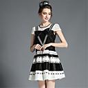 cheap Car DVR-Plus Size Daily A Line Dress - Striped Lace / Cut Out / Bow Summer Black / Mesh