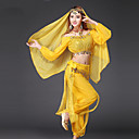 abordables Adhesivos de Pared-Danza del Vientre Accesorios Mujer Rendimiento Raso Lentejuela / Monedas de oro Manga Larga Cintura Baja Top / Pantalones / Cinturón