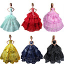 cheap Apparel For Barbie-Party/Evening Dresses For Barbie Doll Polyester Dress For Girl's Doll Toy