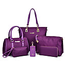 cheap Bag Sets-Women's Bags Nylon Bag Set 6 Pieces Purse Set Black / Purple / Fuchsia