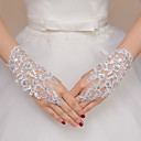 cheap Party Gloves-Lace / Polyester Wrist Length Glove Bridal Gloves / Party / Evening Gloves With Rhinestone