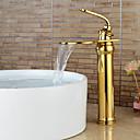 billige Baderomskraner-Moderne Centersat Foss with  Keramisk Ventil Enkelt Håndtak Et Hull for  Ti-PVD , Bathroom sink tappekran