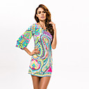 cheap Slipcovers-Women's Off Shoulder Beach Boho Flare Sleeve Mini Sheath Dress - Tribal Print One Shoulder Summer Green M L XL