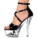 abordables Sandalias de Mujer-Mujer Zapatos Cuero Patentado Primavera / Verano / Otoño Zapatos con luz / Zapatos del club Sandalias Plataforma / Talón translúcido / Tacón de cristal Hebilla / Poroso Blanco / Negro / Negro / blanco