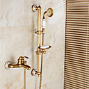 abordables Grifos de Bidé-Grifo de ducha Grifo de bañera - Arte Decorativa / Retro Bronce Envejecido Conjunto Central Válvula Cerámica