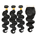 cheap One Pack Hair-4 Bundles Brazilian Hair Body Wave Virgin Human Hair Natural Color Hair Weaves / Hair Bulk Human Hair Weaves Human Hair Extensions