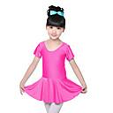 billige Dansetøj til børn-Ballet Kjoler Træning Spandex Krøllede Folder Kort Ærme Naturlig Kjole
