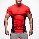 cheap Running Shirts, Pants & Shorts-Men's V Neck Running Shirt - Red, Green, Blue Sports Top Fitness, Gym, Workout Short Sleeve Activewear High Strength, Soft, Comfortable Stretchy