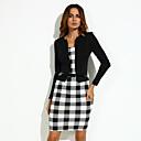 hesapli Sentetik Kapsız Peruklar-Kadın's Büyük Bedenler Çalışma Pamuklu Kılıf Elbise - Kareli Diz-boyu Siyah ve Beyaz / Bahar / Sonbahar / İnce