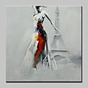 baratos Pinturas Pessoas-Pintura a Óleo Pintados à mão - Pessoas Modern Com Moldura / Lona esticada