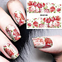 cheap Full Nail Stickers-Fashion Printing Pattern Water Transfer Printing Gouache Flower Nail Stickers