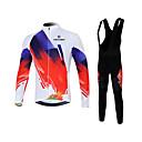 hesapli Bisiklet Formaları ve Şortları/Pantolon Setleri-KEIYUEM Erkek Kadın's Uzun Kollu Askılı Kısa Bisiklet Taytları İngiliz Bisiklet Giysi Takımları Sıcak Tutma Nefes Alabilir 3D Pet Hızlı Kuruma Kış Spor Dalları Coolmax® Örümcek Ağı Tüylü Kumaş İngiliz