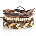 cheap Men's Bracelets-4pcs Men's Rope Beads Twisted Leather Bracelet Bracelet Set Leather Ladies Punk Bracelet Jewelry Brown For Christmas Gifts Daily Casual