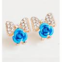 baratos Brincos-Mulheres - Flor Fashion Vermelho / Azul / Rosa claro Para Casamento / Festa