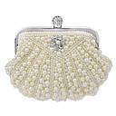 cheap Clutches & Evening Bags-Women's Bags Polyester Evening Bag / Bi-fold Pearl / Crystal / Rhinestone White / Beige / Cream