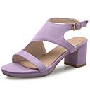 baratos Sandálias Femininas-Mulheres Sapatos Courino Primavera / Verão Sandálias Salto Robusto / Plataforma / Salto de bloco Presilha / Vazados Preto / Cinzento /