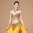 cheap Dance Accessories-Belly Dance Outfits Women's Performance Cotton / Polyester Beading / Tassel Sleeveless Dropped Bra / Belt / Neckwear